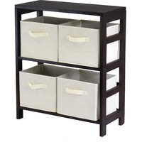 Capri 2-Section M Storage Shelf with 4 Foldable Beige Fabric Baskets