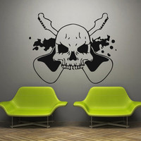 Wall decal art decor decals sticker guitar Electrical tool skull rock sound music song melody picture room (m866)
