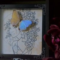 Pearl Morpho Butterfly Insect Art Frame Display Handmade by TheButterflyBabe