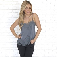 Place in Satin Camisole in Charcoal Grey
