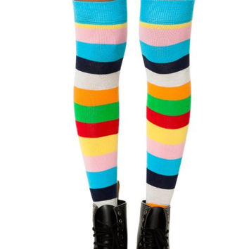 Womens Striped Knee Highs