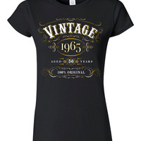 50th Birthday Gift Vintage 1965 T-shirt Tshirt Shirt Mens Womens Fifty bday Funny Joke Whisky Scotch 100% Original Gift for Dad Mom TT05