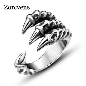 ZORCVENS New Punk Rock Stainless Steel Mens Biker Rings Vintage Gothic Jewelry Silver-Color