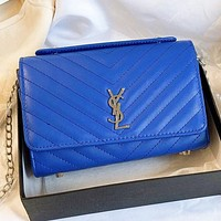 YSL New fashion solid color leather chain shoulder bag handbag crossbody bag Blue