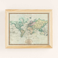Adam Shaw Vintage World Map (1801) Art Print - Urban Outfitters