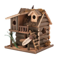 Gone Fishin Fishing Cabin Collectors Village Wood Birdhouse