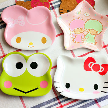 PROMOTION NEW CHEAP HELLO KITTY  frog cute appetizers dish star shape cat  plate dog bowl cake display dish small dish gift