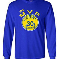 """Long Sleeve Steph Curry Golden State Warriors """"MVP"""" T-Shirt ADULT LARGE"""