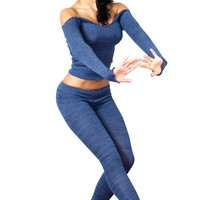 Boat Neck Sexy Sweater & Low Rise Stretch Knit Yoga Tights / Leggings / Dancewear