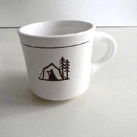 vintage camping mug with tent from michigan
