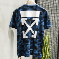 Off White New fashion letter cross arrow print camouflage top t-shirt Blue