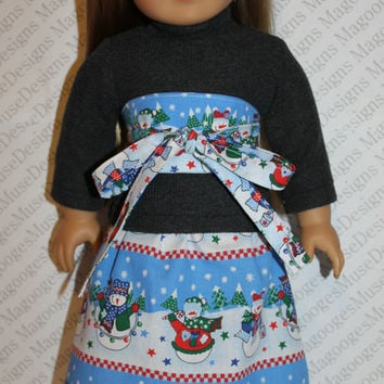 3 piece set! grey ribbed sweater, snowman print skirt and obi belt , 18 inch doll clothes, American girl, Maplelea