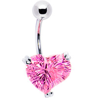 Silver 925 Rose Cubic Zirconia Concave Heart Belly Ring | Body Candy Body Jewelry