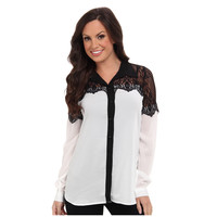 Roper Womens Long Sleeve Black White Lace Shirt