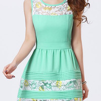 Light Green Floral Embroidered Mini Dress