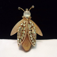 Vintage Bee Bug Faux Gold Baroque Pearl Belly Yellow Glass Rhinestone Gold Plate Brooch Pin