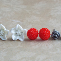 Tiny Rose Studs Lily Studs Dahlia Studs Set of Stud Earrings Floral Jewelry White Red and Gray Flower Boutique