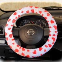 Steering-wheel-cover-cheetah-wheel-car-accessories-hearts-fur-hearts-Red-hearts-on-White-base