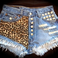 Leopard High waisted Levis, frayed, destroyed, studded S/M/L/XL all sizes