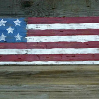 Rustic Distressed American Flag Wooden Sign, 4th of July Decor, Grungy Primitive USA Wooden Flag,