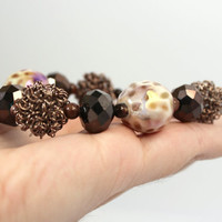 Chunky Antiqued Copper and Brown Beaded Bracelet - Fall Statement Jewelry - Ready to Ship