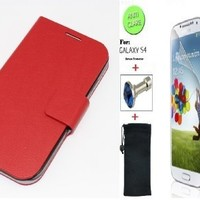 """""""Red"""" Faux Leather Skin Bracket Flip Case Cover Wallet With Magnetic Closure & KickStand For Samsung Galaxy S4 (INCLUDED: MATTE, ANTI-GLARE FRONT SCREEN PROTECTOR + DIAMOND EARPHONE DUST PLUG + PHONE DUST BAG POUCH)"""