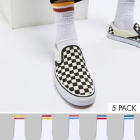 ASOS Sports Socks With Contrast Stripes In Retro Colours 5 PacK at asos.com