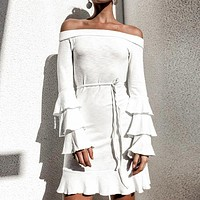 Off Shouler Ruffles Flounce Sexy Women Dress White Solid Female Dresses Winter Long Sleeve Femme Robe Dress Vestidos