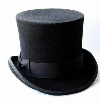 Black 100% Wool Women Or Men Top Hat: Chapeau, Fedora, Steampunk, Victorian Style