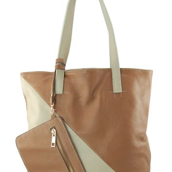 Camel with Cream Plié Tote
