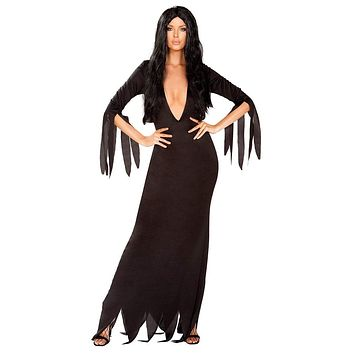 Sexy Morticia Addams Maxi Dress