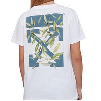 Off White New fashion cross arrow leaf floral print couple top t-shirt White