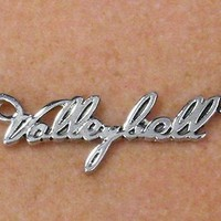 Fashionable Volleyball Script Polished Silver Charm Necklaces