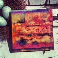 Dorm Room, Office Decor,House Warming Gift, Mixed Media ,Ombre,Distressed , Old Hinge,Wall Decor