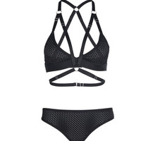 Cross Back Harness Bralette Set