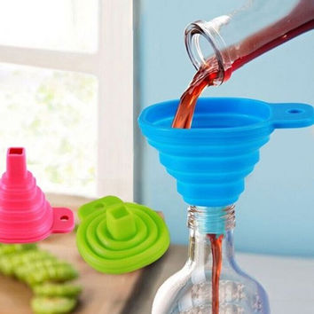 deals] Candy Color Kitchen Tool Silicone Collapsible Style Mini Foldable Folding Portable Funnel Color Random = 5988019457