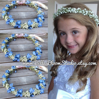 Flower crown, Blue wedding hair accessories, Bridal headpiece, Floral headband, Baby Breath Crown  Dried baby breath crown tiara blue etsy
