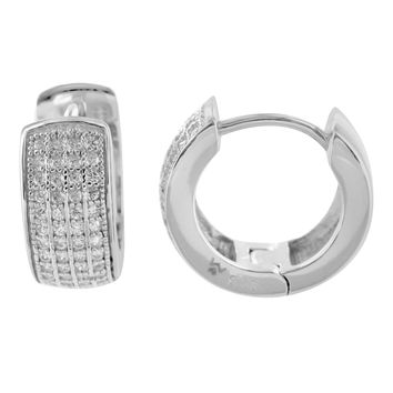 Sterling Silver White Gold Finish 4 Row Hoops Lab Diamond Earrings