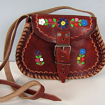 Vintage 60s 70s Hippie Hand Tooled Flowers Leather Bag Bohemian Hand Painted Flowers Saddle Boho Floral Hobo Shoulder Purse