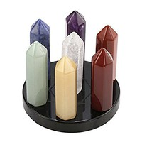 Top Plaza 7 Chakra Healing Crystals Wands Quartz Reiki Energy Tumbled Stones Set Hexagonal Points Array Statue Figurines W/Black Obsidian Stand 1.9×1.7 inches