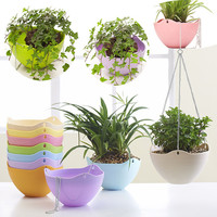 Flower pot  PP plastic Hanging garden pots Bracketplant flowerpot with metal chain hoist Candy colors With water storage