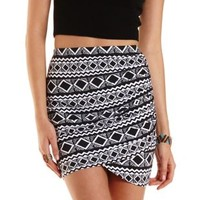 Tribal Print Ruched Mini Skirt by Charlotte Russe