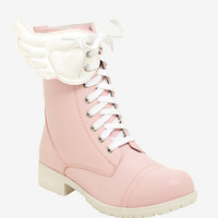 Pink & White Wing Combat Boots