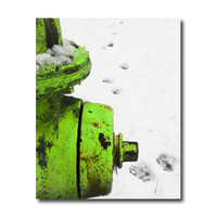 Chartreuse Fire Hydrant humorous print paw prints winter snow scene industrial 8 x 10 fine art photography neon green