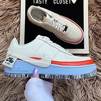 Air Force 1 AF1 Nike Low Tops White Blue Orange Women Shoes Contrast Sneakers