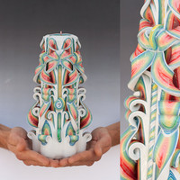 Carved Candle - Large candle  - Colorful candle