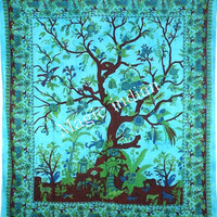Modern Tree of life Wall Hanging, Tree of life Wall Decor Tapestries, Indian Tree of life Bed Cover Sheet, Tree Of life Mandala Tapestry