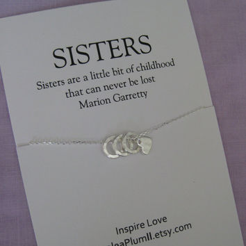 Three Sisters necklace . 30th Birthday SISTERS Jewelry. Delicate sterling silver. Sister Gift. Maid of Honor Sister. Sisters. 3 Sisters.