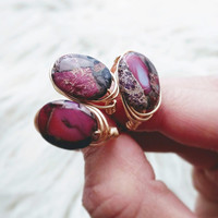 Serpentine Jasper Ring, Gemstone Rings, Wire Wrap Rings, Stone Ring