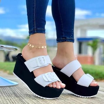 New style large size women's shoes platform buckle slippers sandals